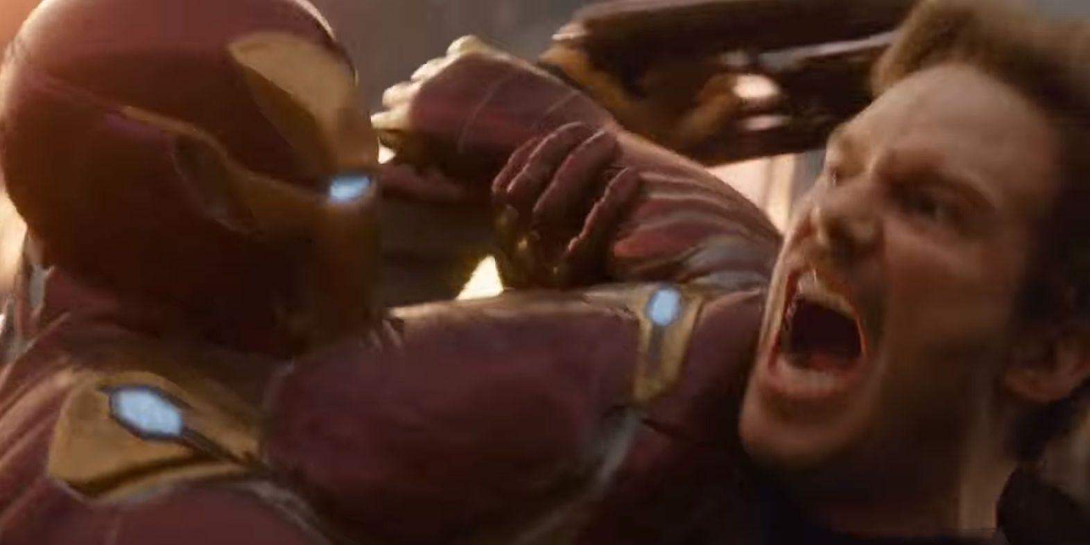 infinity war spot teases star-lord vs. iron man fight
