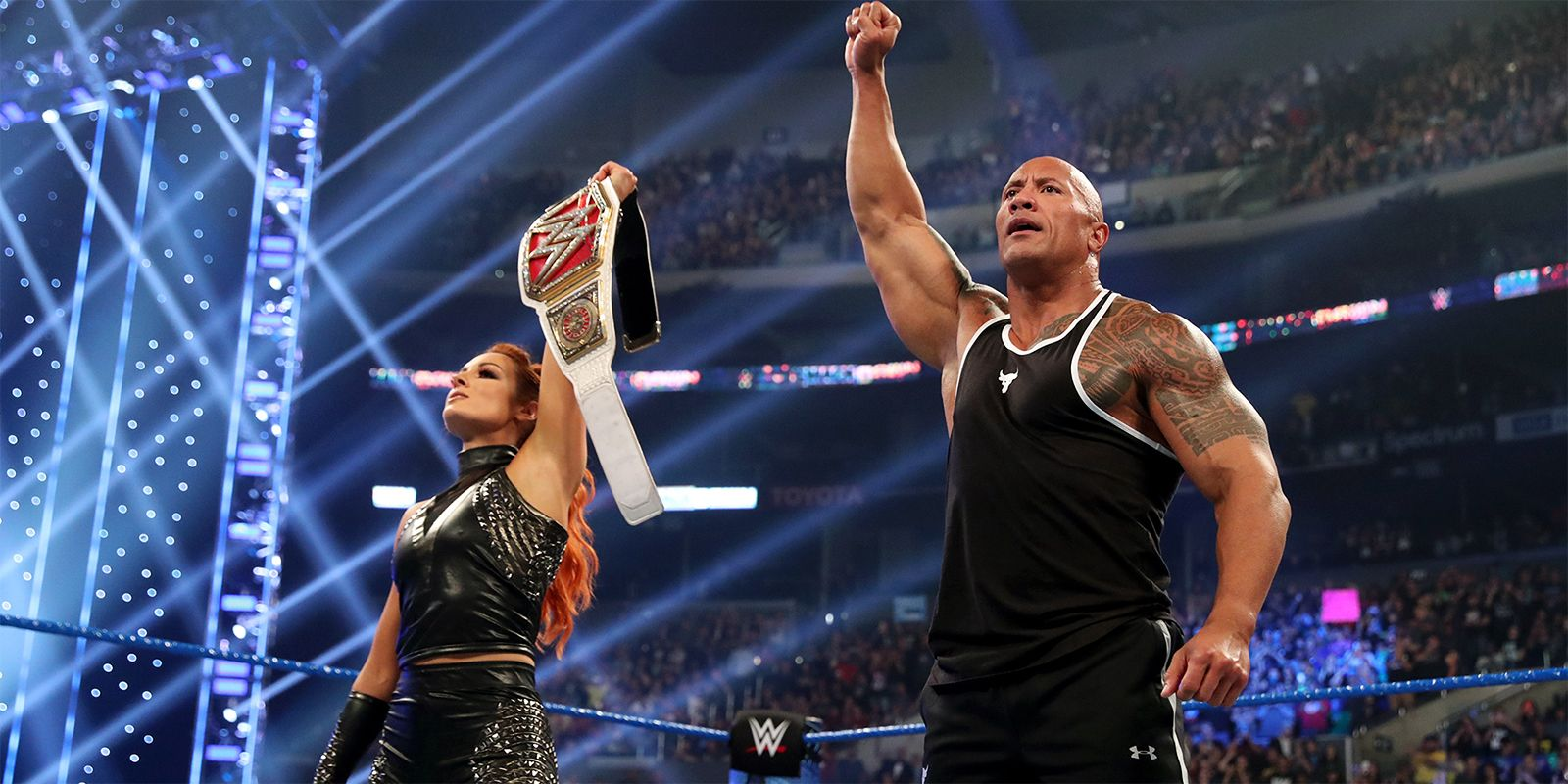 WWE: The Rock & Becky Lynch Lay the SmackDown on Baron Corbin