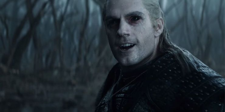 A creepy Geralt in Netflix's The Witcher series.