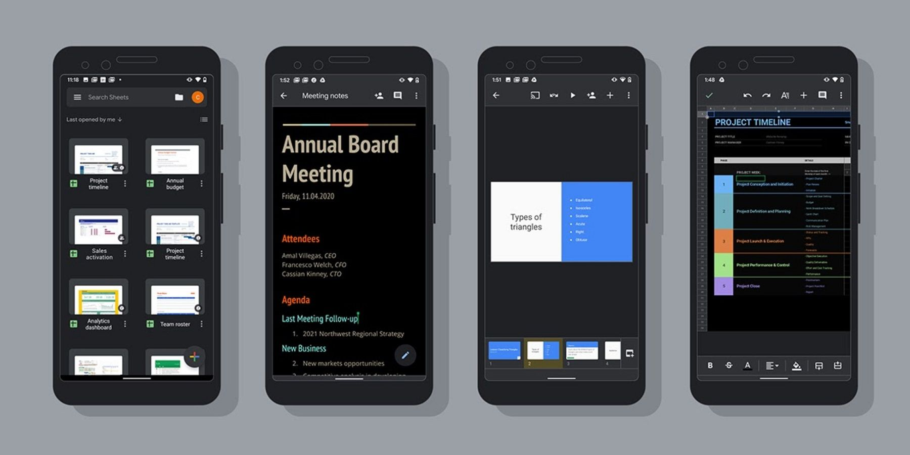 Google Docs Sheets Slides Android Apps Gain Dark Mode Support
