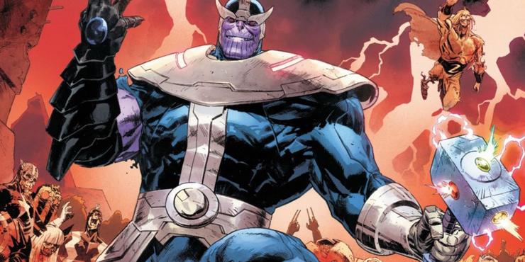 Thanos wields Mjolnir powered by Infinity Gems