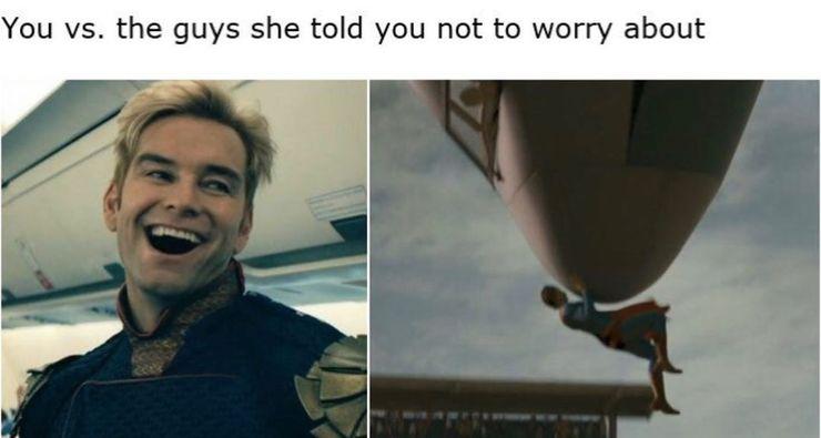 Image result for superman vs homelander meme you vs guys she told