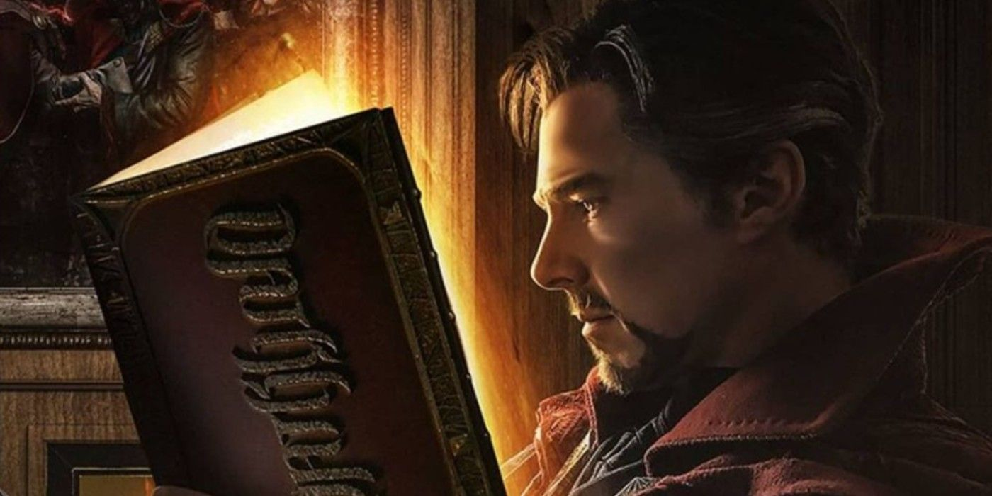 Doctor Strange Reads the Darkhold in Multiverse of Madness Art