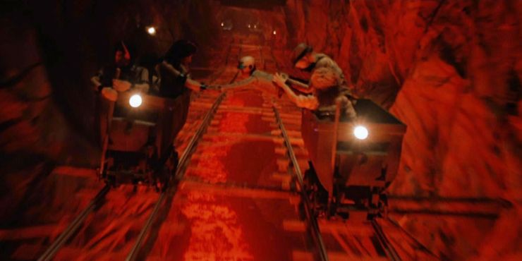 The most iconic sequence in Temple of Doom includes when Indiana tries to slow down and stop the mine cart.